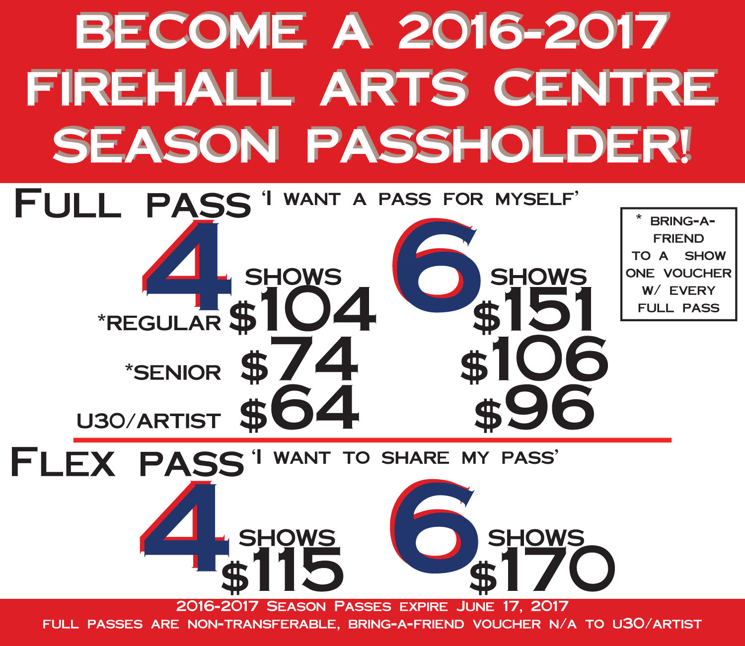 2016-17 Season Pass Prices